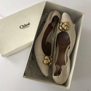 CHLOE kitten heels with gold bead detail